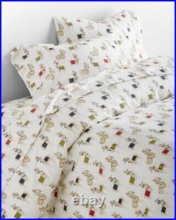 Garnet hill KID Llama Christmas SHEET SET TWIN holiday red child bed Gift DECOR