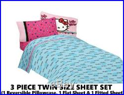 Girls HELLO KITTY Pink Hearts 5pc Twin Size Comforter & Sheet Set +Plush Pillow