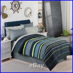 Gray, Blue & Green Boys Stripe Twin Single Comforter Set (6 Piece Bed In A Bag)