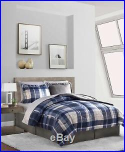 Gray & Blue Plaid Stripes Reversible Boys Teen Twin Comforter Set (6 Pc)