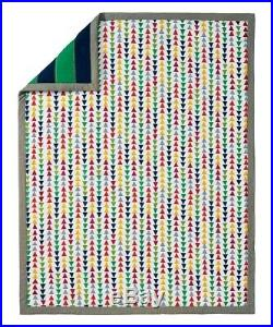 Hanna Andersson Rugby Stripe Quilt Twin Navy Green 100% Cotton Reversible 69x90