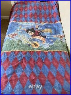 Harry Potter Quidditch Duvet Sheet Set Twin Flat Fitted Pillow Hermione 2001 VTG