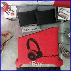 Headphones Red Boys Reversible Comforter Set 3-4pcs in Twin and Full/Queen Size