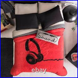 Headphones Teens Boys Reversible Comforter Set And Sheet Set 6 Pcs Twin Size