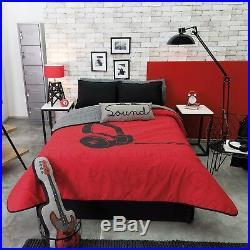 Headphones Teens Boys Reversible Comforter, Sheet Set And Windows Panels 9pc Twin