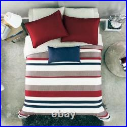 Hot Seller Oxford Stripe Teens Boys Reversible Comforter Set 3 Pcs Twin Size