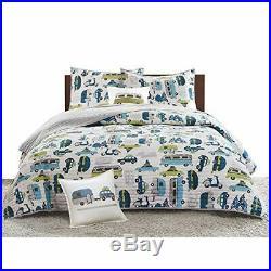 INK+IVY Kids Road Trip Twin Bedding Sets Boys Quilt Set White Blue Car 3
