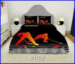 Ice Hockey Bedding Set, Hockey Comforter, Personalized, Teen Boys, Kids Blanket