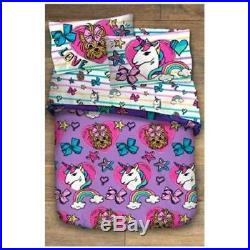 JoJo Siwa 6PC Reversible Twin Bedding & Bow Bow Plush Dog & Tote Bag New