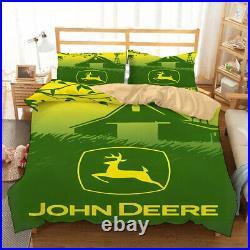 John Deere Bedding Set Vehicle Tractor Duvet Cover Set Kids Boys Twin Full Queen