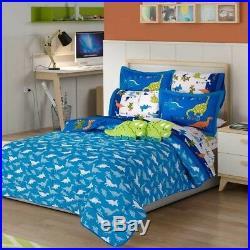 Jurassic Dinosaurs Kids Boys Reversible Comforter, Sheet And Curtains 10pcs Twin