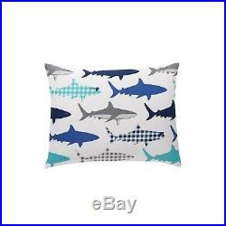 Kids BLUE GRAY SHARK FIN Ocean Fish 5pc TWIN Size Comforter Sham & Sheet Set