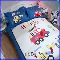 Kids Boys Cartoon Car Cotton Bedding Set Duvet Cover Sheet Twin Queen King Size
