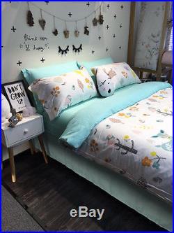 Kids Girls Boys Forest Animal Bedding Set Duvet Covers Twin Queen Cartoon Sheet