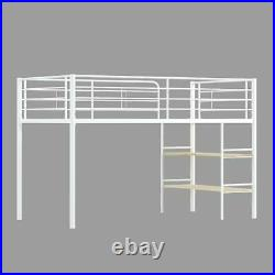 Kids Metal Twin Loft Bunk Bed with 2 Open Shelves and Under Bed Storage Boy Girl
