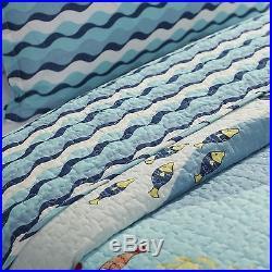 Kids Quilt Set Twin Fish Reversible Nautical Ocean Shams Bedding Sheet Comforter