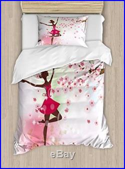 Kids Room Duvet Cover Set by Ambesonne, Ballet Butterfly Fairy Ballerina Princes