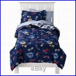 Kids Twin Bed in a Bag Vintage Car Boys Comforter Set Blue 5 pc