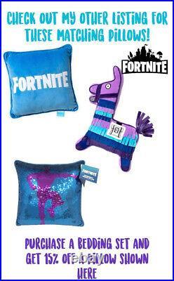 LICENSED FORTNITE Loot Llama Geometric Turq Purple Logo 5 PIECE Bed IN Bag Set
