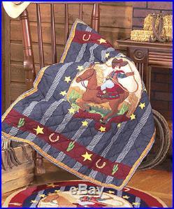 LIL BUCKAROO Twin QUILT SET BOYS COWBOY BRONCO PONY HORSE PATCH MAGIC