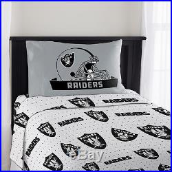 Las Vegas Raiders Set NFL Twin Bed Fitted Flat Sheets Boys Team Bedding
