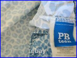 Lot 2 Pottery Barn Teen Twin XL Cotton Fitted Sheets, Blue Leopard Cheetah Print