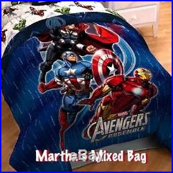 MARVEL AVENGERS Comics SUPERHEROES BOYS Twin sz Blue Comforter + SHAM+ Lunch Box