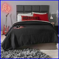 MUSIC RHYTHM Comforter Bedding TWIN BLACK Reversible Gift Music Boy 3 PIECES