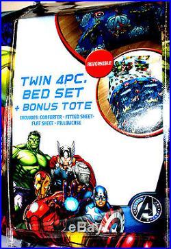 Marvel Avengers Twin Bed Set Reversible Comforter + Bonus Tote