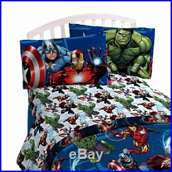 Marvel Avengers Twin Size Bedding Set 3 Pcs Hulk Thor Iron Man Soft Microfiber