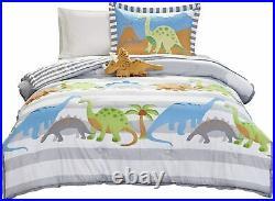 Mi Zone Kids Dinosaur Dreams Twin Kids Bedding Sets for Boys Grey, Blue, Dinos