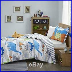 Mi Zone Kids Little Foot Twin Bedding Sets Boys Quilt Set Grey Blue Orange