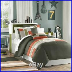 Mi-Zone Pipeline Twin/Twin Xl Kids Bedding Sets For Boys Olive Green, Striped