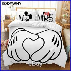 Mickey Minnie Cartoon Bedding Set Cute Couple Twins Full Extra Large Boys Girls