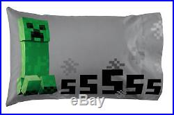 Minecraft Bed Set Twin Kids 5 Piece Comforter Sheets Pillowcase (NoTax)