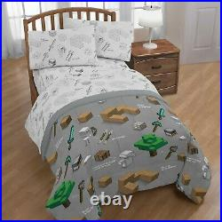 Minecraft Boys Twin Bed in a Bag Bed Reversible Comforter and Sheets Set