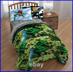 Minecraft Builders Boys Twin Comforter & Sheet Set (4 Piece Bed in A Bag)