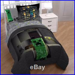 Minecraft Builders Boys Twin Comforter, Sheets & Sham (5 Piece Bed In A Bag)