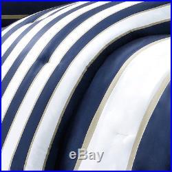 Modern Blue Beige White Navy Stripe Teen Boys Comforter Set Full Queen Twin / XL