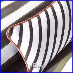 Modern Blue White Navy Khaki Sporty Boys Stripe Comforter Set & Shams & Pillow