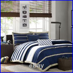 Modern Blue White Stripe Soft Boys Comforter Set & Pillow Full / Queen, Twin