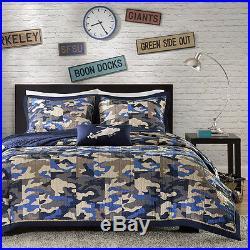 Modern Camo Camouflage Army Green Blue Grey Boy Soft Quilt Pillow Comforter Set