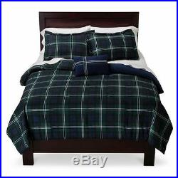 Modern Cozy Blue Green Navy Stripe Plaid Sporty Boys Soft Comforter Set & Pillow