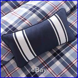 Modern Cozy Plaid Sporty Blue White Red Stripe Cabin Lodge Boys Comforter Set