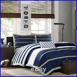Modern Cozy Sporty Blue White Navy Tan Beige Stripe Boy Comforter Set & Pillow