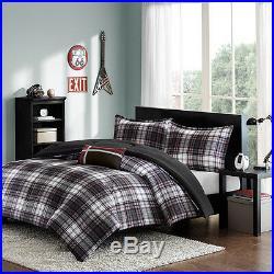 Modern Grey Red Black White Plaid Stripe Boy Cozy Reversible Comforter Quilt Set