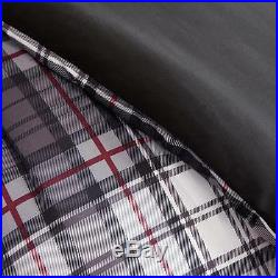 Modern Grey Red Black White Plaid Stripe Boys Cozy Sporty Comforter Set & Pillow