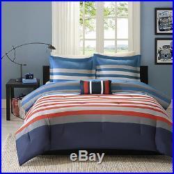 Modern Red Grey White Blue Sport Stripe Chevron Boys Soft Comforter Set & Pillow