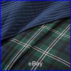 Modern Reversible Blue Green White Plaid Stripe Boys Quilt Set & Pillow New