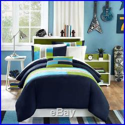 Modern Soft Navy Teal Aqua Blue Grey Stripe Boy Comforter Set Twin XL Full Queen